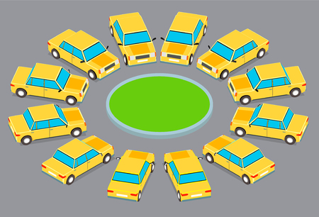 Twelve identical cars parked in a circle. Cars in isometrics in different angles.
