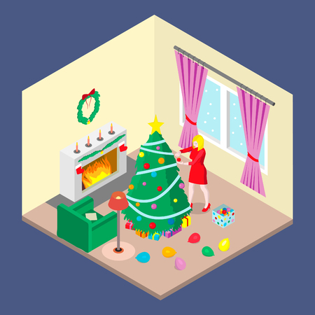 A girl is decorating a Christmas tree. A blonde in a red dress is in the room with a Christmas tree and a fireplace.