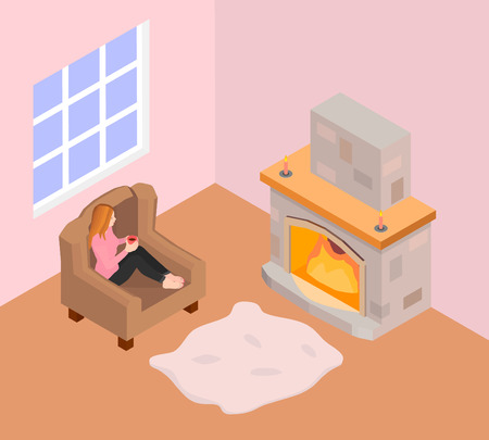 A girl sits in an armchair and warms by the fireplace. A girl in a pink sweater Ilustração
