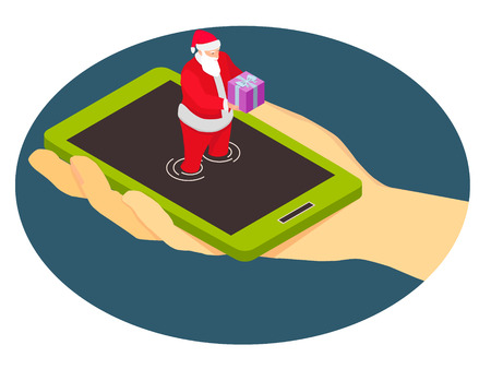 Santa Claus from a smartphone gives a gift. Isometric abstraction for mobile phone company.