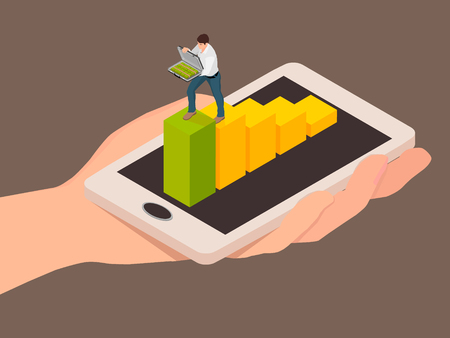 Abstraction of money transaction using a smartphone. Climbs to transfer money.