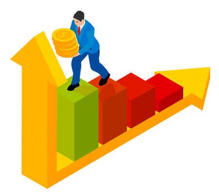 A man runs on a chart holding hands in his hands. Man in blue suit with coins in isometric. Illustration