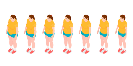 Seven identical girls show the process of losing weight. Isometric girls with different weight. Banco de Imagens - 120281166