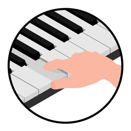 Isometric logo hands pianist. The man pressed the piano key. Banco de Imagens - 120281167