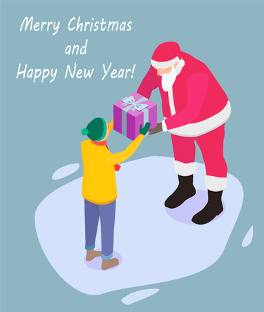 Santa Claus gives a gift to the boy. Santa Claus and a boy in isometry, vector.