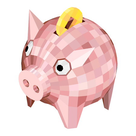 Piggy bank with polygons Style. Isometric Pig with a Chinese Coin.