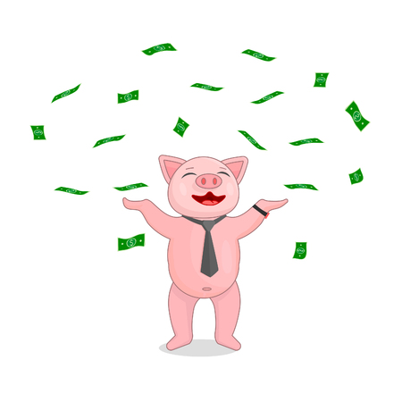 A pig in a tie and a watch is scattered about with money. Joyful pig in flat style is a symbol of wealth.