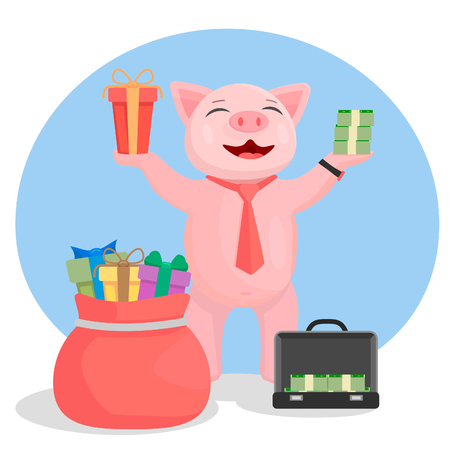 He holds up his hands in the other hand a bundle of money. Funny piggy Banco de Imagens - 120281196