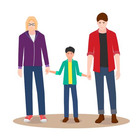 Gay couple on a walk with their child. Happy couple. Ilustração