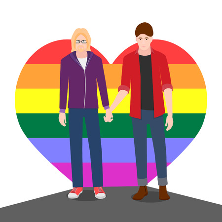 Two men hold hands, they are gay. Men stand with lgbt color.