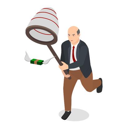 Businessman holding net catch money with wings. Runs away from him. Ilustração
