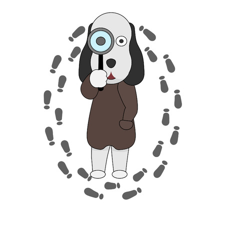 A dog detective holds a magnifying glass in his hand. Search dog logo in flat style. Banco de Imagens - 120281460