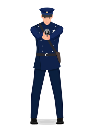 A policeman from his hands. The policeman aims at the criminal.
