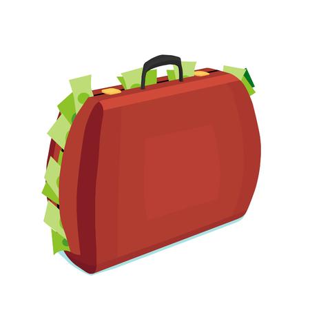 Ein brauner Koffer ist voller Geld. Koffer mit Geld ist ein Symbol für Reichtum.