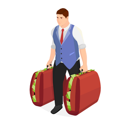 Successful businessman with two suitcases of money. Strong man carries huge suitcases with money. Ilustração