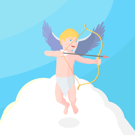 Cupid in the sky holds a bow. Little angel is aiming from the bow.