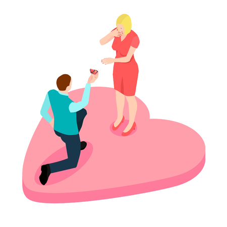 A man is positioning a girl is standing on a knee, isometric. A happy couple are going to be husband and wife.
