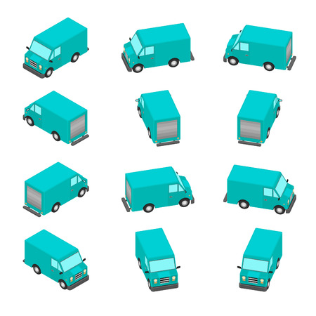 Isometric view. Delivery van with different viewing angles. Ilustração