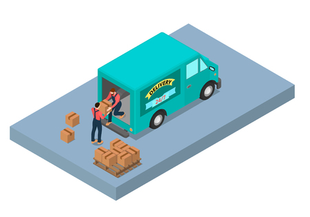 Two workers unload the van. He passes by the box.