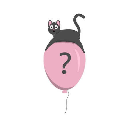 Cute cat flying on a balloon. Pensive cat symbolizes a lot of questions.