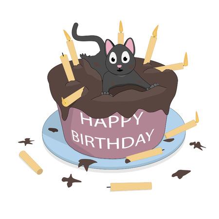 Happy Birthday. Cute cat with a cake and candles. Ilustração