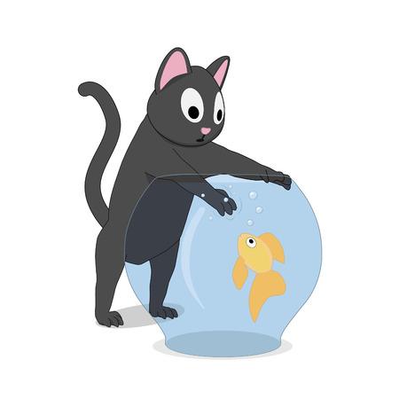 Cat and fish in the aquarium. The cat hunts a goldfish that swims in an aquarium. Ilustração