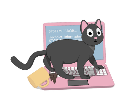 Gray cat with a pink screen. The cat ruined the laptop. Ilustração