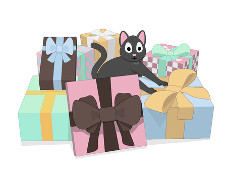 Gray cat and a lot of gifts. The cat is happy holidays and gifts. Ilustração