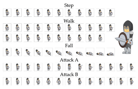 Knight character animation for 2d games. Movement of man in armor and with a sword.