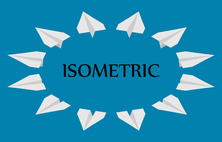 Paper planes in different angles, isometric. 12 planes fly in different directions.