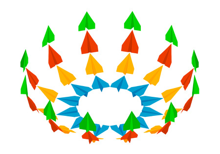 Colored paper airplanes are gaining height. Paper planes in different angles, isometric. Ilustração