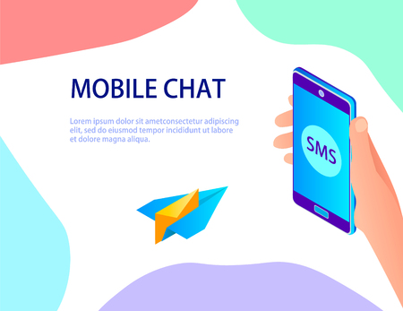 Abstraction on the subject of mobile chat. Flies on a paper airplane to the smartphone. Ilustração