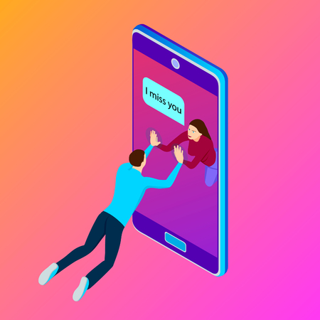 Young couple communicate on smartphone, isometric. The girl sends a message to her boyfriend using a smartphone.