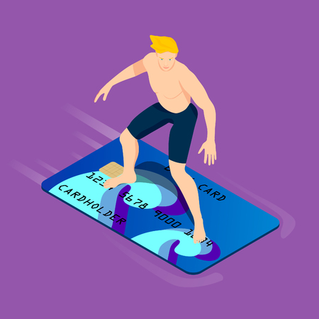 A handsome blond is surfing a bank card. Isometric young man with surf credit card.