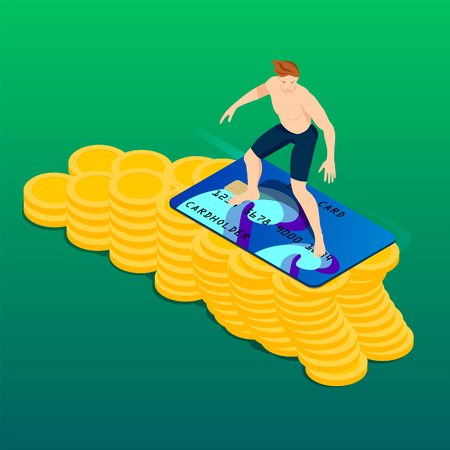 Surfer and a wave of money. Isometric young man with surf credit card. Banco de Imagens - 120281500
