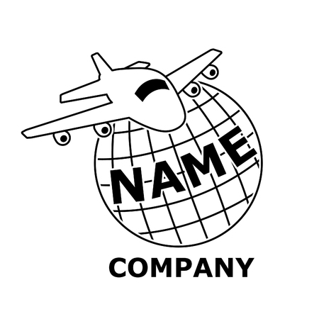 Plane travel logo, black and white. The airplane flies over the planet earth. Banco de Imagens - 120281780