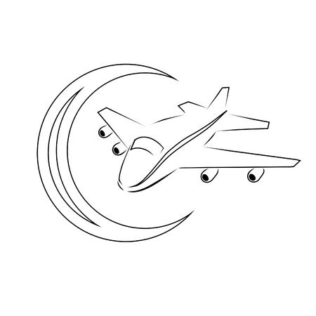 Airplane and Crescent Logo. Flies at night under the crescent. Ilustração