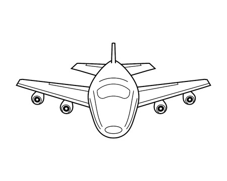 Airplane icon with lines. Front view silhouette on white.
