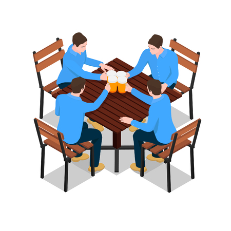 Four identical men clink glasses with beer. Men sit at a wooden table and drink beer.