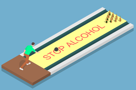A man is going to give up alcohol. The man uses beer bottles to play bowling. Ilustração