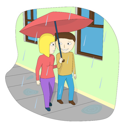 A couple walking down the street in the rain. A loving couple under the umbrella in the rain.
