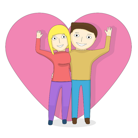 Cartoon couple on the background Man and girl on Valentines Day.