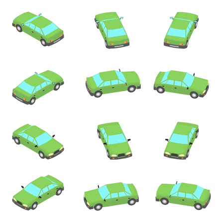 Animation of the rotation of the car in isometric view. Green car with different viewing angles.
