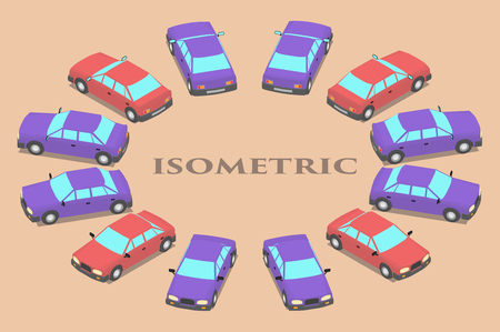 Twelve parked cars of different colors. Cars in isometrics in different angles.
