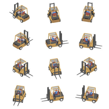 Animation of the forklift in isometric view. Loader with different viewing angles. Banco de Imagens - 120281858