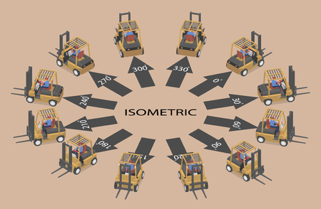 Twelve identical forklifts in isometric. Loader in different angles.