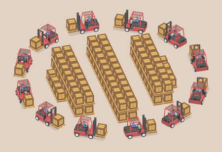 Twelve workers use forklifts in stock. Loaders carry large boxes in isometric.
