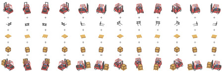 Twelve forklifts with boxes in isometric. Different objects for editing.