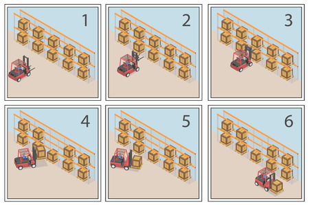 Comic about the work of the forklift. An example of using a loader. Banco de Imagens - 120281887