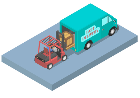Worker loads a van with a forklift. Loader with driver and van in isometric.